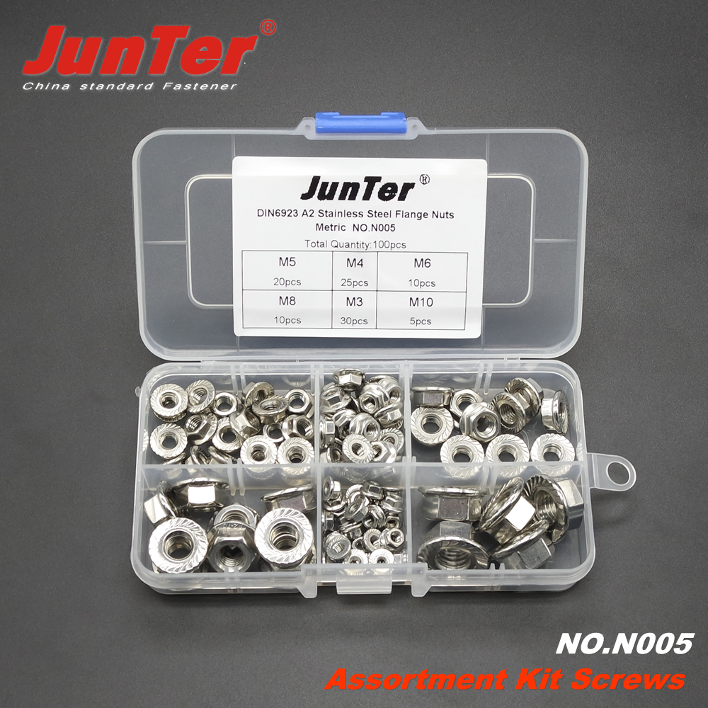 100pcs M3 M4 M5 M6 M8 M10 A2 Stainless Steel Hex Flange Nuts DIN6923 Metric Assortment Kit NO.N005 ep f15 black