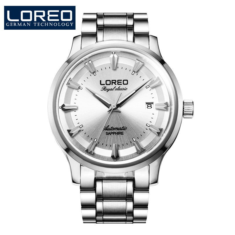 LOREO Europe genuine classics silver color mechanical stainless steel waterproof hollow men's casual business watches stainless steel cuticle removal shovel tool silver