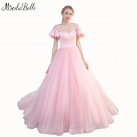 Modabelle Long Tulle Evening Dresses Woman Pink Ball Gowns Dubai 2018 Customized Design Arabic Elegant Prom
