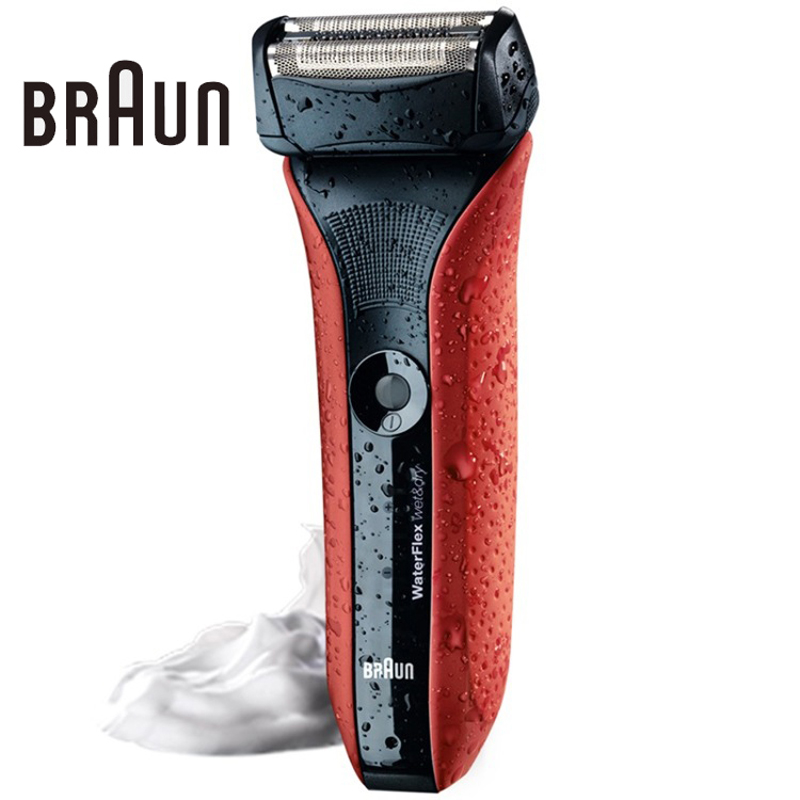 Braun Electric Shaving Razor Waterflex Wet&dry Wf2s  High Quality Rechargeable Shavers Fully Washable Safety Razor Red