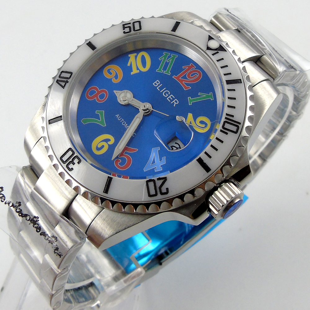 Bliger 40mm blue dial date white Ceramics Bezel colorful marks saphire glass Automatic movement Men's watch ambiente подвесная люстра ambiente granada 2118 6 ab honey leaf