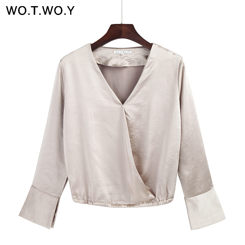 972f40850f6ae WOTWOY High Quality Deep V Neck Silk Blouses Women Long Sleeve Satin Office  Blouse Shirts Women Tops 2018 Elegant Tunic Shirt-in Blouses   Shirts from  ...