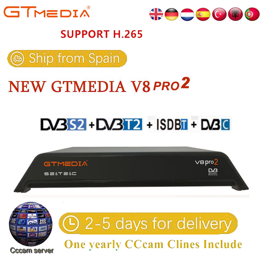 GTmedia V8 Pro 2 Receptor DVB-S2 DVB-C DVB-T2 Built-in WiFi H.265 Support IPTV PowerVu DRE &Biss Key Satellite TV Receiver 1080P