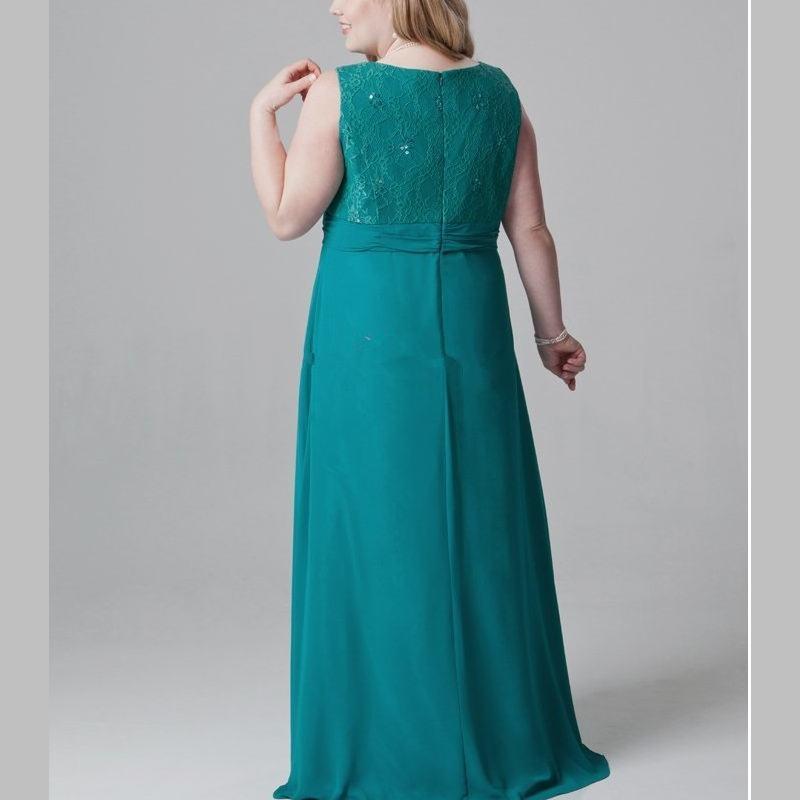 Grande taille vert émeraude mère de la mariée robes dentelle mousseline de soie robe de soirée pour maman avec veste col en V longueur de plancher - 2