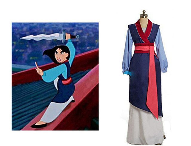 Hua mulan cosplay dress mulan princess dress high quality mulan princess costume for adult women blue mulan cosplay