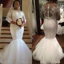 SexeMara Vintage Mermaid Wedding Dress Sheer Long Sleeves