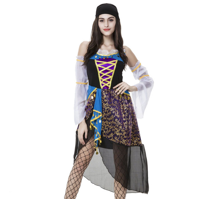 Black Purple White Floral Coins Halter Asymmetric Dress Sexy Gypsy Girl Princess Carnival Party Cosplay Costumes  sc 1 st  AliExpress.com & Black Purple White Floral Coins Halter Asymmetric Dress Sexy Gypsy ...