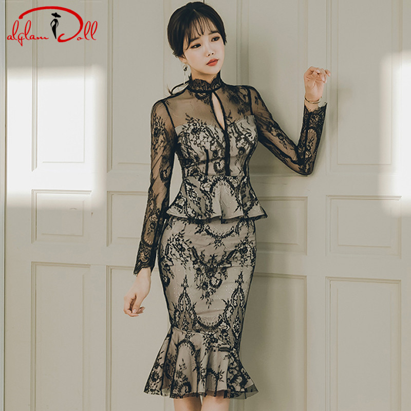 2018 Autumn Full Lace Peplum Party Dress Black Sheath Sexy Cloth Middle Length Bodycon Pencil Midi Sexy Vestidos