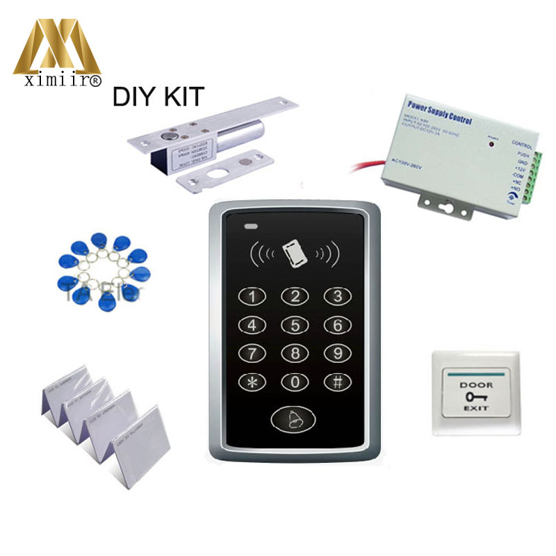 F007 125KHZ ID Card Access Control Single Door System+2 Pin Electric Bolt Lock+ Power Supply  + Exit Button + ID Key/ Card
