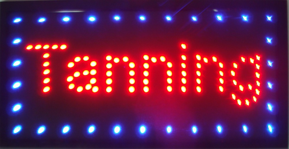 High qualtiy arriving customized led light signs led tanning signs size 48cm*25cm semi-outdoor