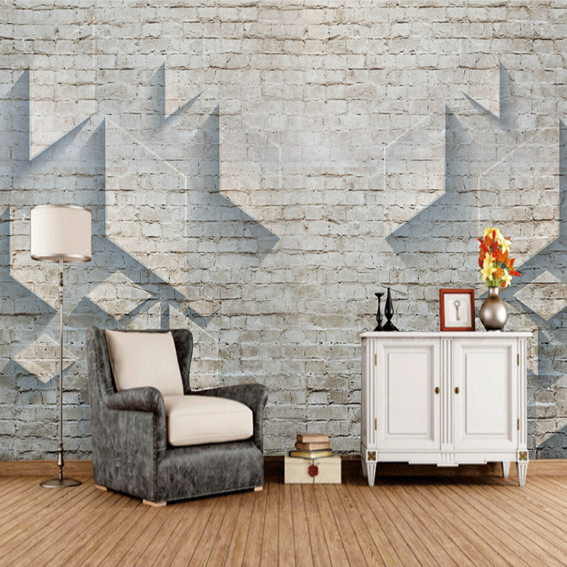 Custom Photo Wallpaper 3D Stereo Brick Wall Mural Wallpaper Modern Minimalist Geometric Pattern Living Room TV Background Murals custom photo wallpaper 3d stereoscopic cave seascape sunrise tv background modern mural wallpaper living room bedroom wall art