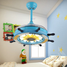 LED Cartoon creative rudder remote control invisible ceiling fan lamp childrens room bedroom with electric chandelier boy g