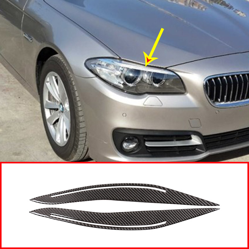 2pcs Real Carbon Fiber Front Fog Lamp Decoration Strips Stickers Trim For BMW 5 Series f10 520 525 2014 2016 Car Accessories
