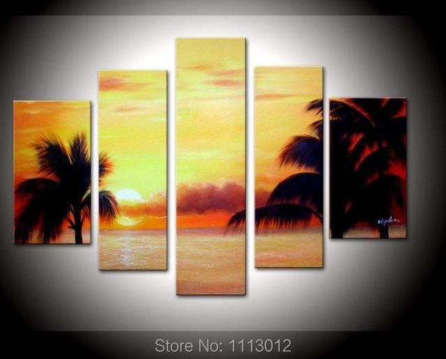 Yellow Palm Trees Sandy Beach Oil Painting On Canvas 5 Pcs Sets ...