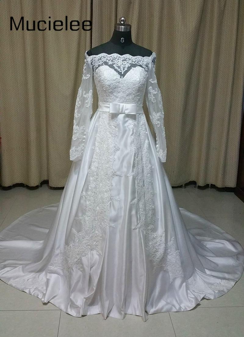 Off Shoulder Vintage Hijab Long Sleeve Islamic Wedding Gowns Satin ...