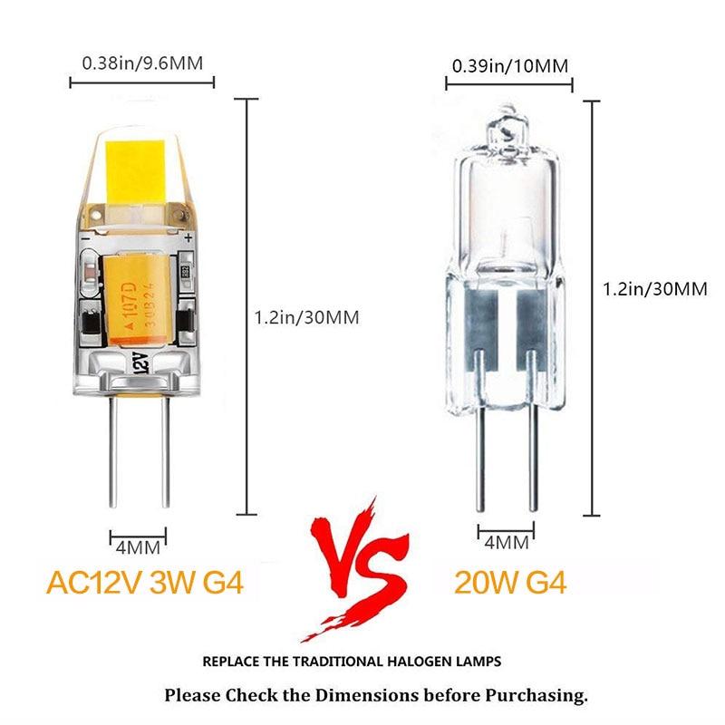 100 Pcs/Lot AC/DC 12V G4 COB Led lampe 3W Dimmen 360 Strahl Winkel Kronleuchter lampen Ersetzen Halogen Lichter - 2