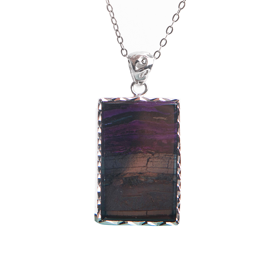 Natural Stone Purple Sugilite Pendant Rectangle Shape Crystal Gem Silver Plated Pendants Necklace 28*19*5mm