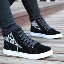 Nice New Spring/Autumn Men Canvas Shoes Fashion Breathable Men Casual Shoes Zipper High-top Lace-up Men Shose Pop Flats Shoes(China)
