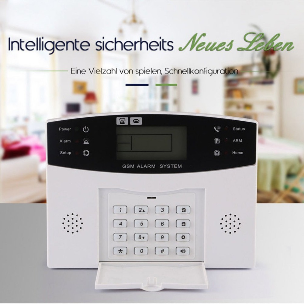 433 MHz Wireless Alarm Clock GSM Digital Alarm System PIR Detector Door Sensor Remote Control Home Burglar Security Sensor