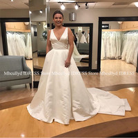 Sexy V neck Satin Wedding Dress 2019 Long Sweep Train Backless Bridal Gowns With Chic Bow Cheap Plus Size African robe de mariee