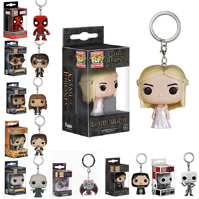 Daenerys Targaryen Funko POP Game of Thrones Jon Snow Pocket Keychain <font><b>Key</b></font> <font><b>Ring</b></font> Hanger A Song of Ice and Fire D.C Who Deadpool