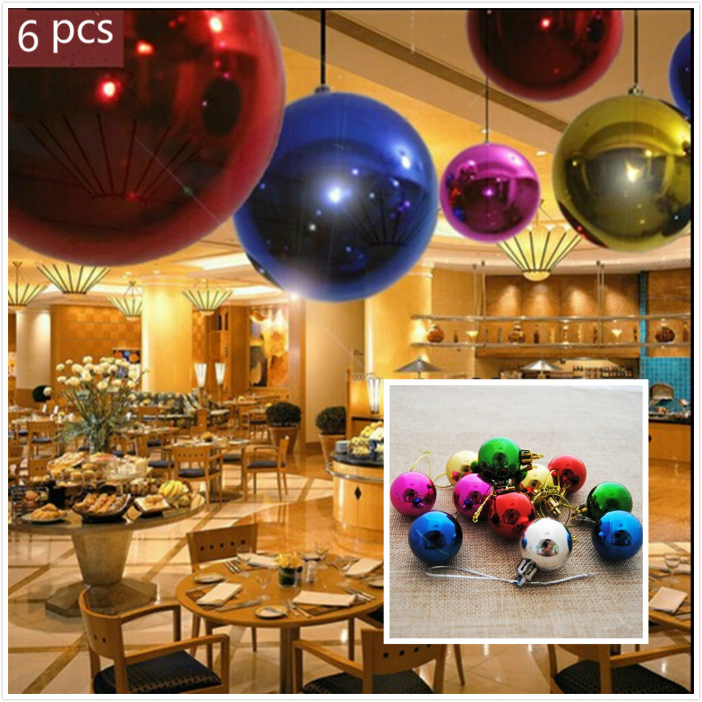 6pcs Plastic Christmas Ball Xmas Tree Ball Decor Bauble Hanging Party Wedding Home Christmas ...
