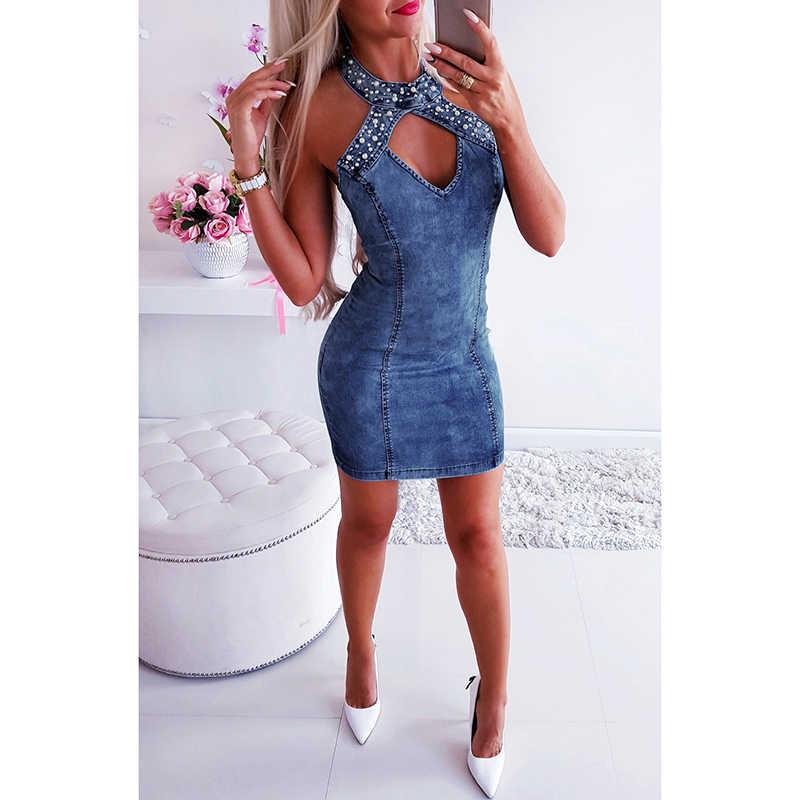 Сексуальное женское джинсовое платье без рукавов с бисерными бретельками с v-образным вырезом, однотонное узкое облегающее праздничное клубное мини-платье, синие платья, женские вечерние платья