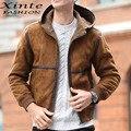2016 Men Winter Leather Jacket Suede Leather Faux Lambswool Jackets with Hood Outwear Brown Fleece Lined Warm Garment