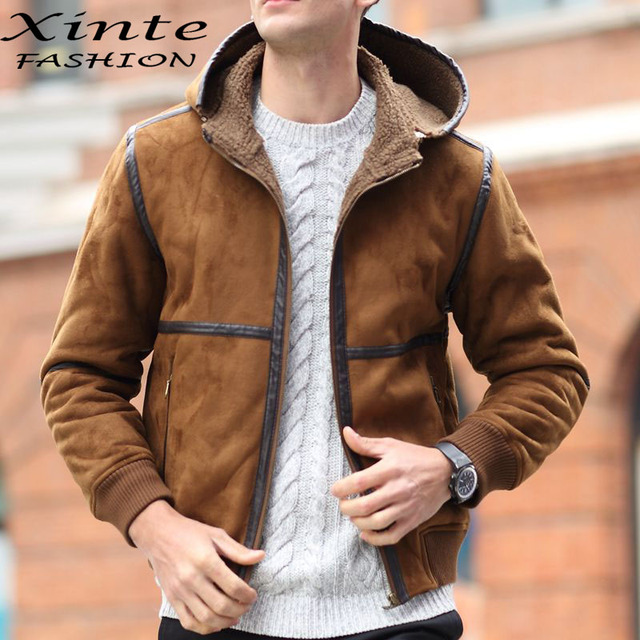 2017 Men Winter Leather Jacket Suede Leather Faux Lambswool ...