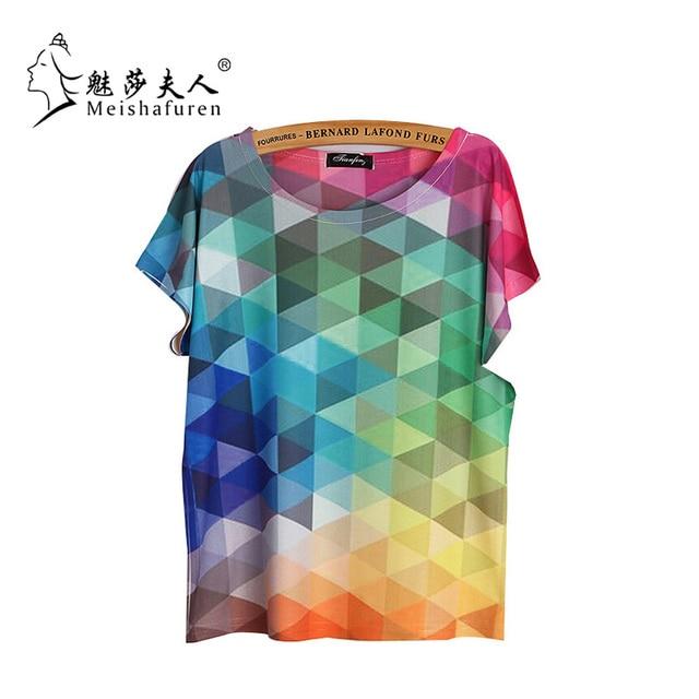 Donna 2017 Nouvelles Femmes De Mode À Manches Courtes T-shirt Arc-En-Couleur Triangles Imprimé Élégant T-shirts Occasionnels De Base Tee Tops TX857-S