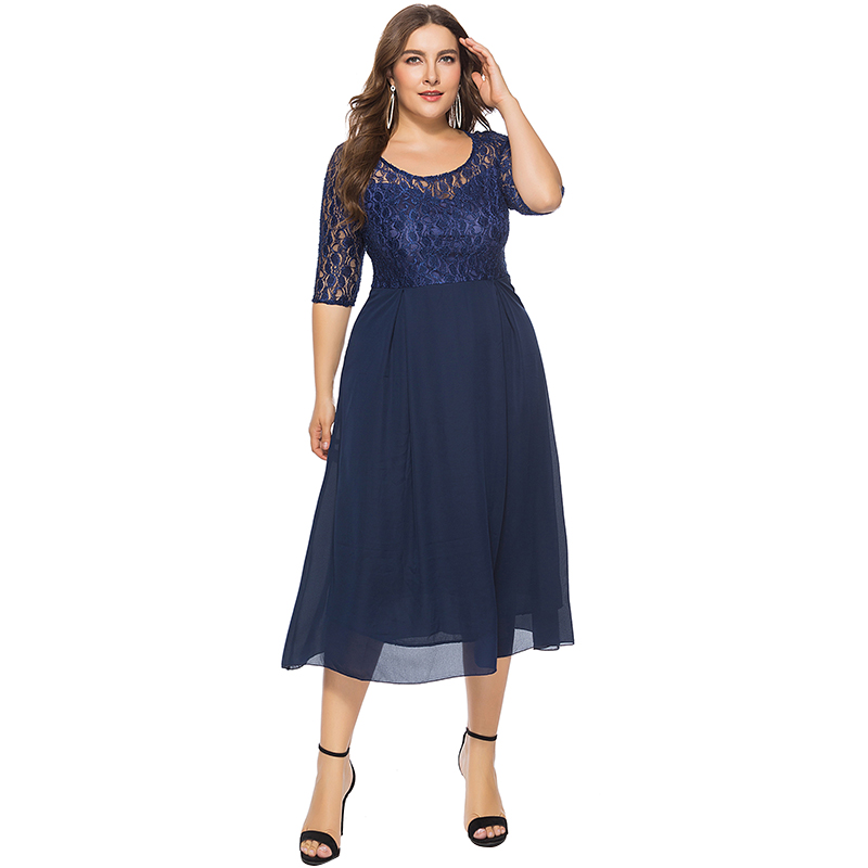 Elegant Women Chiffon Lace Dress Patchwork Half Sleeves High Waist Party Sexy Streetwear Midi Dresses Plus Size 5XL 6XL Elbise