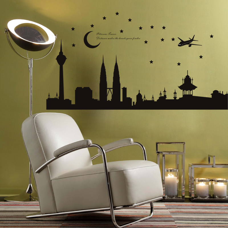 free ship malaysia petronas building picture city wall art stickers