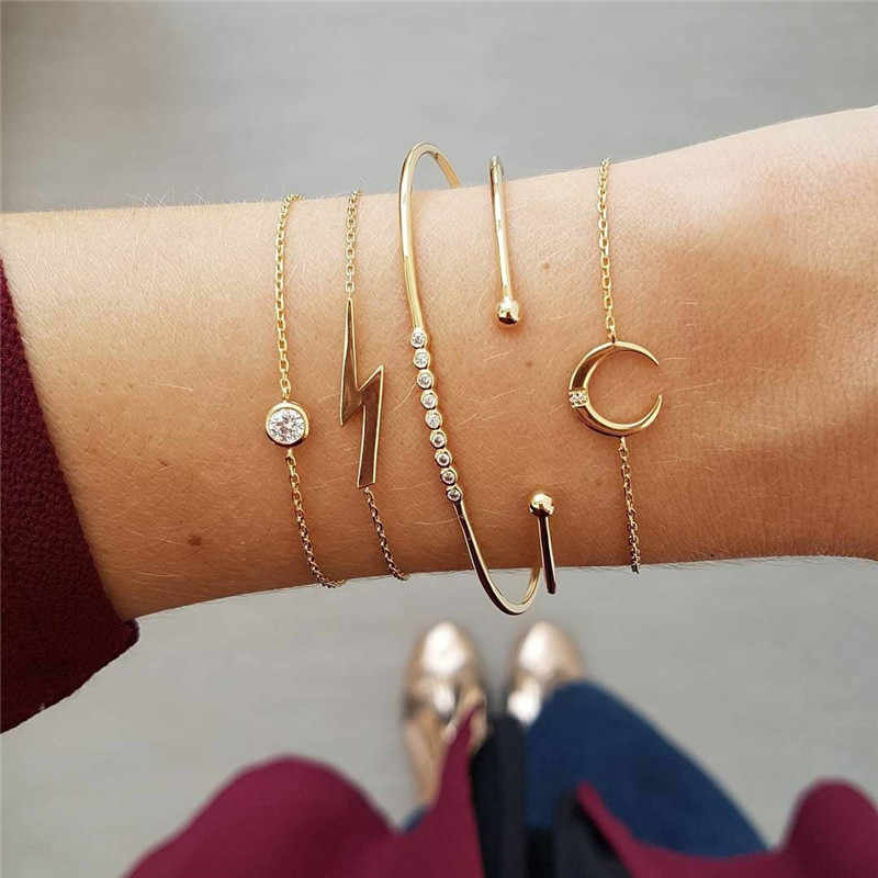 LUSION Trendy Bohemian Moon Crystal lightning Bracelet Sets For Women Fashion Gold MultiLayer Charm Bangles Female New 5Pcs/set