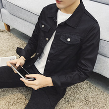 Оптовая продажа 2019 осень стрейч Повседневная дешевая джинсовая куртка мужская тонкий белый/красный/черный/синий студентов подростков мужская одежда