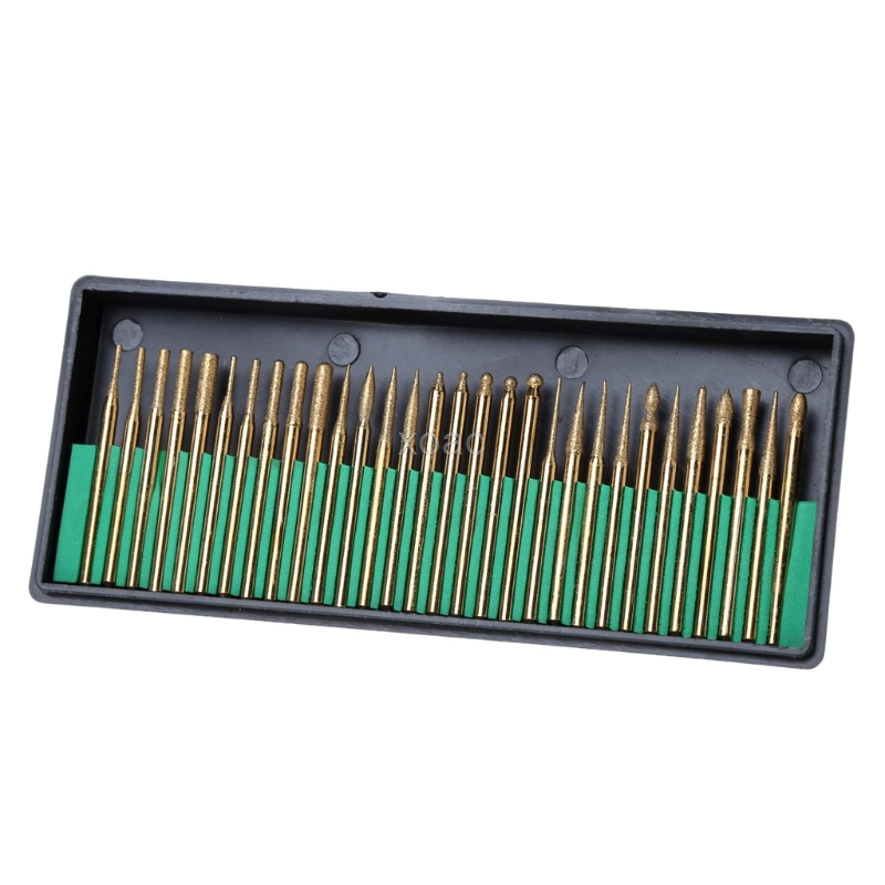 30Pcs 3mm Titanium Coated Diamond Burs Bit Set Dremel Assorted Rotary Drill Tool M03 Dropship