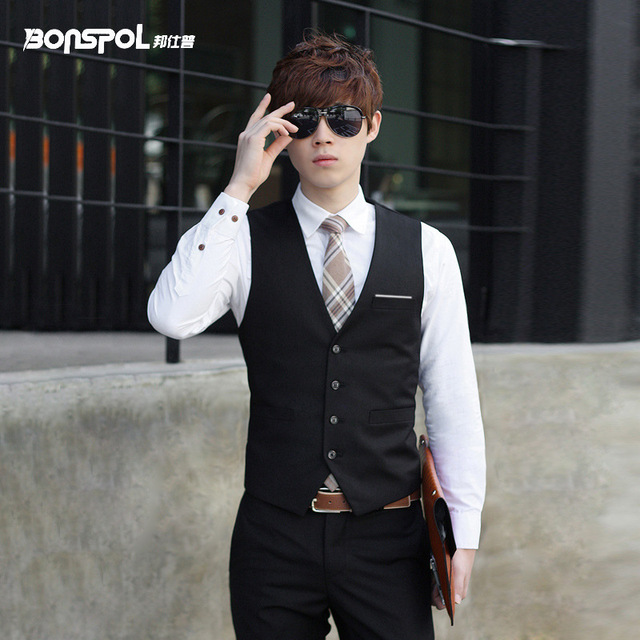 Brands BONSPOL leisure men work vest male top men's clothing Vest Dress Men Formal Business Party Mens Dress Vest Suit