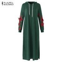 ZANZEA Long Hoodie Sweatshirt Dress Plus Size Women Full Sleeve Split Side Flower Embroidery Hooded Sweater