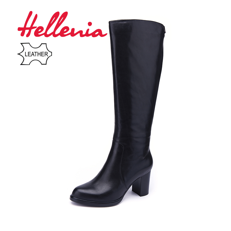 Hellenia/высокие сапоги из натуральной кожи на толстом каблуке, женские высокие сапоги с острым носком, осенне-зимняя шерстяная женская обувь н...