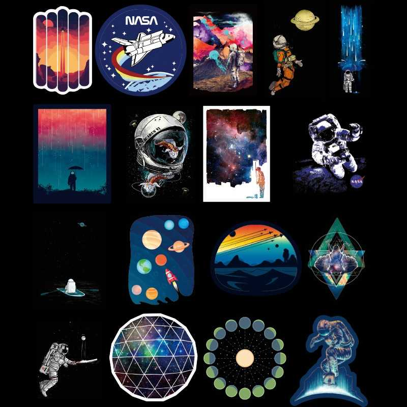 100PCS/Bag Universe Space Stickers Laptop Skateboard Luggage Waterproof Stickers Classic Toys For Kid Birthday Gift Sticker Pack