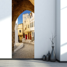 Creative DIY 3D Door Wall Stickers Narrow Streets Pattern for Kids Room Door Home Decoration Accessories Large Size Wall Sticker