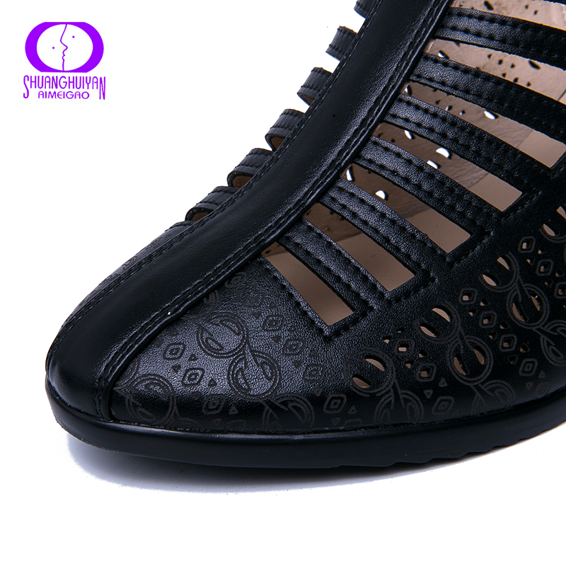 Image 4 - AIMEIGAO 2019 New Women Gladiator Sandals Summer Shoes Black Color Comfortable Heels Women Shoes Hollow out ShoesHigh Heels   -