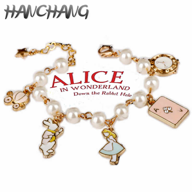 Cartoons Alice In Wonderland Charm Bracelet Alice Palace Wind Lolita GirlRabbit Poker Pumpkin Car Bangle Bracelet Magic Gifts