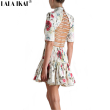 Brand Design 2016 Floral Print Beading Cross Tied Backless Mini Women Dress Sexy Frill Dresses Ladies Vestidos Womens QWA0883-4
