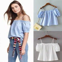 Women Sexy Off Shoulder Tank Tops Strappy Vest Blouse Casual Loose Solid Chiffon Shirt