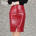 OL estilo rojo negro genuino cuero faldas divididas delgado falda lápiz faldas jupe saia falda de piel de oveja de piel de cordero LT959 etek