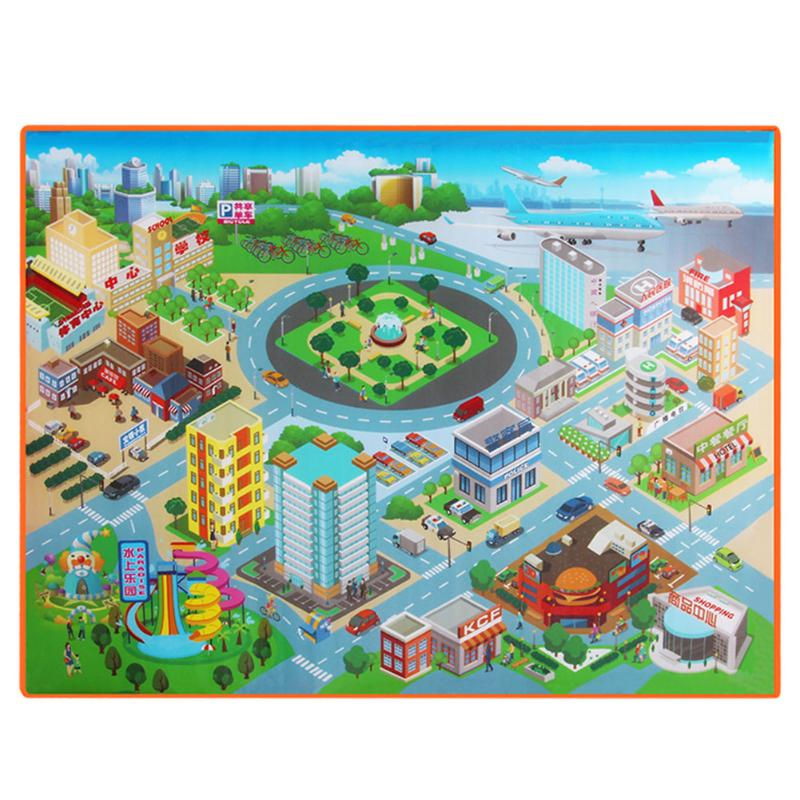 120*90*0.4CM Waterproof Foldable Climbing Baby Play Mat Route Map City Town Crawling Pad Mat Children Outdoor Picnic Toy Carpet
