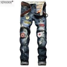 Newsosoo бренд Америка знак отверстия рваные джинсы для мужчин мода slim fit прямые проблемные джинсы masculino MJ65