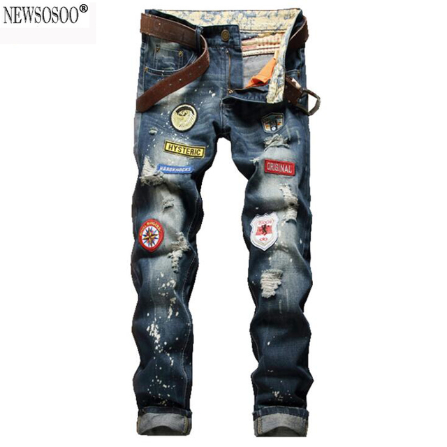 Newsosoo brand America badge holes ripped jeans for men fashion slim fit straight distressed jeans masculino  MJ65