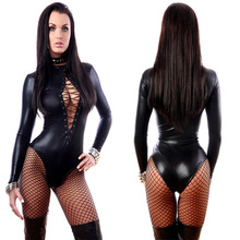 Sexy Black Vinyl Leather Shemale Catsuit