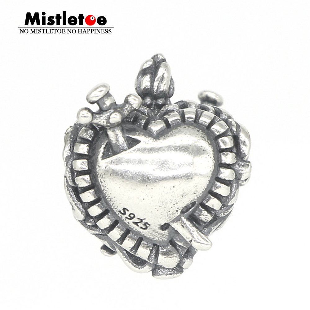 все цены на Mistletoe Genuine 925 Sterling Silver Sacred heart Charm Bead Fit OHM Troll And Pan Bracelet Jewelry